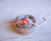 Wool Knit Wrap and Headband Set for Baby Girl, Beautiful Newborn Photo Prop and Ready to Ship