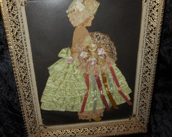 x Lovely Ribbon Work Doll Picture Framed, Mint Green and Pastels (FF052016-04)