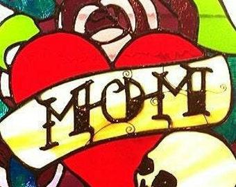 Homage to the Mom tattoo in Stained Glass
