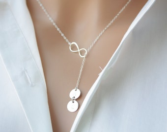 Personalized Infinity Lariat Y necklace with Two initial Discs , STERLING SILVER  figure 8 jewelry, family necklace, Mother's Day gift