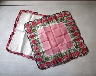 Pair of 1950s Linen Hankies - Pink Floral and Hand Crocheted Borders Unused