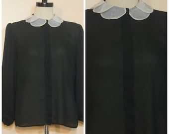 Sheer Black Blouse with White Collar Large Goth Minimalist 90s