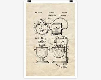 Patent Art Electric Mixer, 1928 - Large Patent Art Print Print Patent Art Print Wall Decor Vintage Art Patent Print Wall Hanging 15.