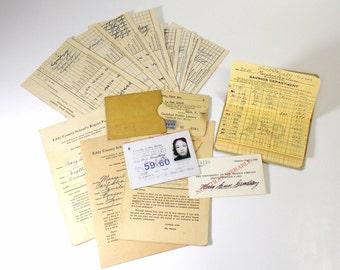 Vintage Ephemera Lot 1950s/1960s Student ID Card, Report Cards, Savings Book