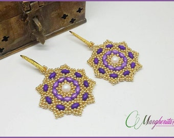Cipro earrings tutorial with superduo, seed beads and pearls. earrings pattern