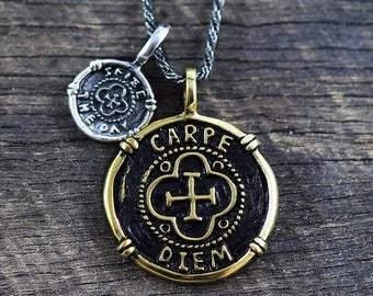 Carpe Diem Pendant Gold Silver Mens Necklace Antique Brass Man Jewelry