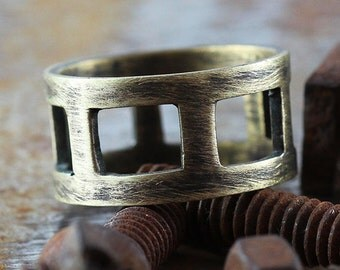 Mens Gold Ring Cool Rustic Wedding Band Man Jewelry