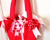 Ready to Ship OOAK Girl's Purse Ribbon Valentine's Bag Red Polka Dots Ribbons Hearts Fabric