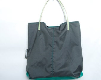 UK Handmade Wyatt and Jack Recycled Concrete Grey & Green Eco Friendly Canvas Tote Handbag Bag