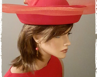 Bollman Fancy Hat/Church Hat - Red - 100% Wool Felt - Vintage