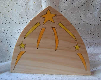 Star Wooden Background for Nativity, Sculptures, Nature Table