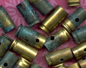 DESTASH Brass Bullet Shell Casings for bead caps, pendants - Side drilled  Green Patina - 9mm luger +