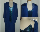 Sale Valentines 1980s Evening Dress by Casadei, 80's does 20's Look, Sequins, Sheer, Blue, Size Medium, #45684