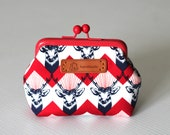red and white deers  ,geometrical coin purse with red frame