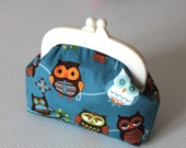 Cute owls printed coin purse with white frame