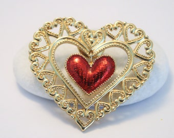 Vintage red heart lapel pin.  2 heart pin