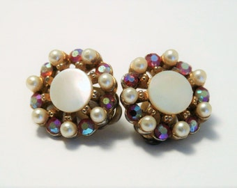 Vintage Mother of Pearl earrings.  Clip on earrings