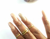 Gold band knuckle ring-  set of gold rings- adjustable, everyday midi ring