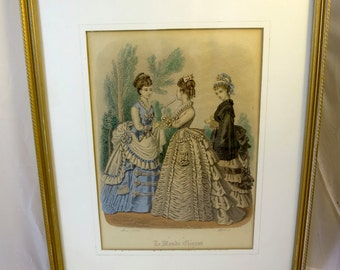 Antique Victorian Picture French Fashion Plate Engraving Print Paris Fashions Hoop Skirts Gilt Wood Frame 1874 Hand Colored Print 11 x 14 in