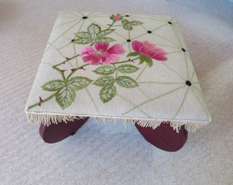 Vintage Wood Foot Stool Art Deco Round Legs Silk Flower Embroidery Rose Pink Green on Linen Top Painted Crackle Finish OOAK Stool 24 x 16 in