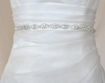 Elegant Eyes Rhinestone Beaded Wedding Dress Sash Belt