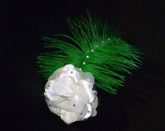 White Rose with Ostrich Feathers and Gems