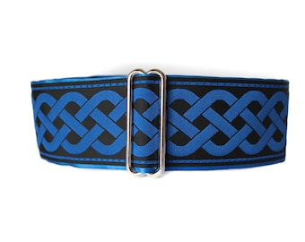 Blue Martingale Collar, Celtic Martingale Collar, 2 Inch Martingale Collar, Celtic Dog Collar, Jacquard Martingale Dog Collar