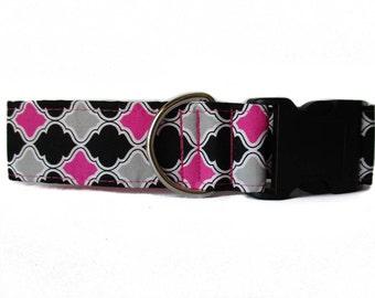 Pink Dog Collar, Wide Dog Collar, Pink and Black Dog Collar, Dog Collars Canada, Side Release Dog Collar