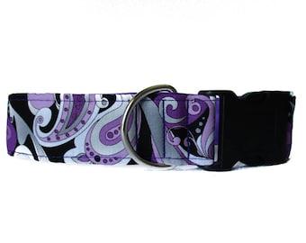 Paisley Dog Collar, Purple Dog Collar, Purple Paisley Dog Collar, Wide Dog Collar, 1.5 Inch Dog Collar, Dog Collars Canada
