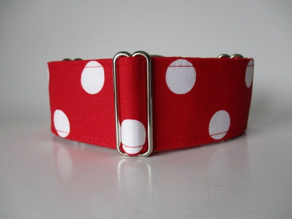 Polka Dot Martingale Collar, Red and White, Polka Dot Dog Collar, Custom Dog Collars, Greyhound Collars