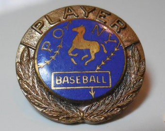 Vintage Enamel Pony Baseball Player Collar Button - Blue Enamel & Laurel Leaves - New Coupon Code BUY3GETONEFREE
