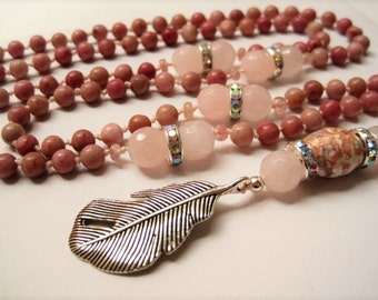 Pink Rhodonite Feather Pendant Necklace / Hand Knotted Rose Quartz & Agate