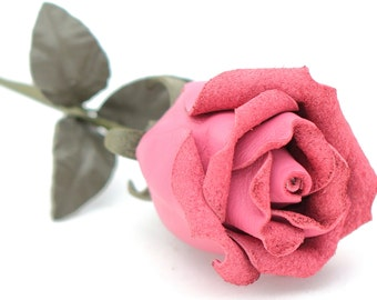 Pink leather rose bud third Anniversary wedding gift Long Stem leather Flower Valentines 3rd Leather Anniversary Mother's Day