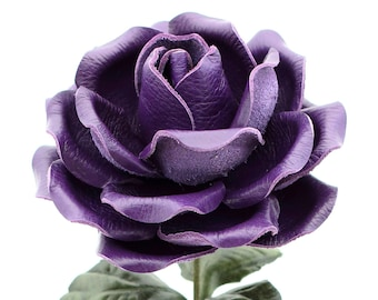 Leather Rose Deep Purple Leather Flower Large Third Wedding Stem Leather Flower Valentine's Day 3rd Leather Anniversary Anniversary Gift