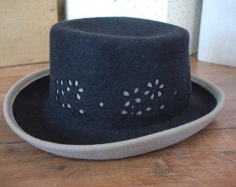 Vintage 1960's Hat // 60s Navy Blue and Dove Grey Felt Wool Brimmed Hat // Floral Cutouts