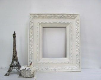 Ornate Picture Frame, Vintage Cream, Antique White Open Gallery Frame