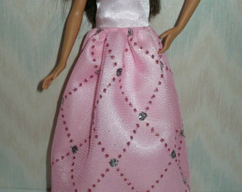 """Handmade for 10.5"""" teen sister fashion doll - Your choice - Hot Pink or Pink Satin and Tulle Gown"""