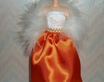 "Handmade 11.5"" fashion doll clothes - Orange satin and white lace gown with boa"