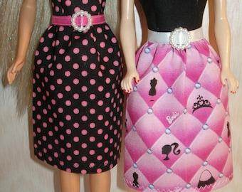 "Handmade 11.5"" fashion doll dress -Your choice - choose 1 - black/pink polka dot or black/pink print"