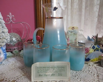 Blendo Turquoise Lemonade Set-Aqua Lemonade Set-Original Price tag-Glass Sticker-Unused