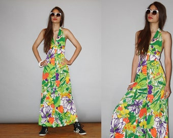 1960s Vintage Psychedelic Palazzo Halter Tropical Floral Bellbottom Jumpsuit  - Vintage 60s Graphic Jumpsuits - WD0854