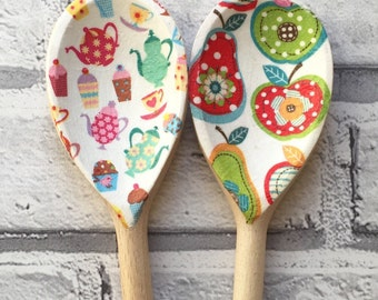 Colourful Tea Party & Apples n Pears Decorative Decoupage Wooden Spoons. FREE Shipping to all UK addresses