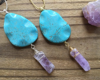 blue Magnesite and Amethyst pendant necklace, blue stone and Amethyst jewelry