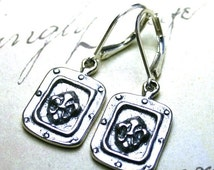 ON SALE The Gothic Fleur-de-Lis Medallion Earrings - Vintage Euro-Style All Sterling Silver Earrings with Leverbacks