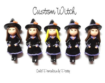 Custom Witch Ornament, Pendant, Bow Center, Brooch, Magnet, Purse Charm, Necklace, Cold Porcelain Clay Figurine, Keepsake, Halloween Gift