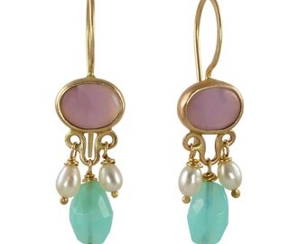 Lavender Chalcedony, Blue Peruvian Opal, & Pearl Earrings in Recycled 14k Gold - One of a kind and ready to ship! Ancient Inspirations