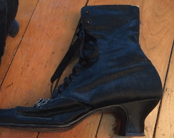 Victorian satin and leather boots