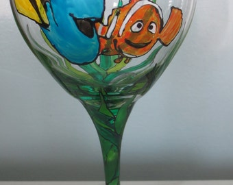 Finding Nemo Finding Dory  Wine Glass Hand Painted