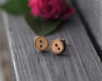tiny birch tree branch wood stud earrings • tiny buttons earrings