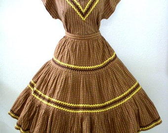 Vintage Rockabilly Patio Dress Set - Brown Calico Circle Skirt, Top and Bloomers - 1950s 50s Mexican Style Set - Size Small